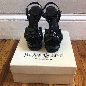 Yves Saint Laurent parent black Tribute Sandals